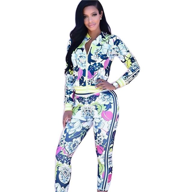 Fashion Style Sexy Sportswear Printing Two Piece Set Popular 2 Piece Slim Suit jumpsuit blue Skinny Full Length Autumn women