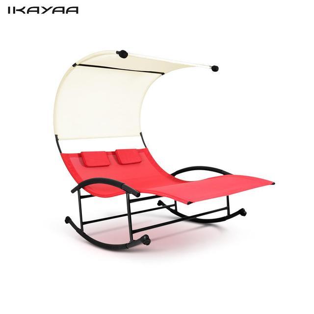 IKayaa Im Freien Doppelte Chaise Rocker Baldachin Garten Pool Doppel Garten  Stuhl Bett Terrasse Sofa Möbel