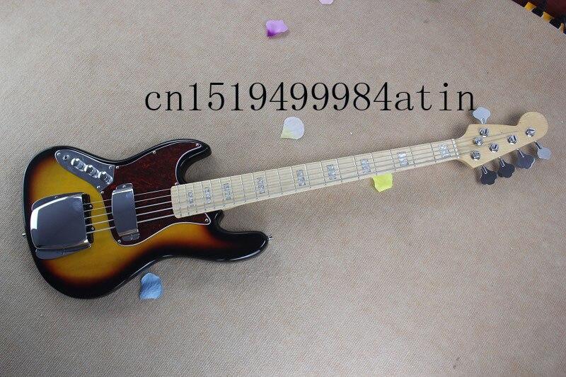 Livraison gratuite Banjo gaucher basse électrique guitare JAZZ BASS couleurs coucher du soleil guitare