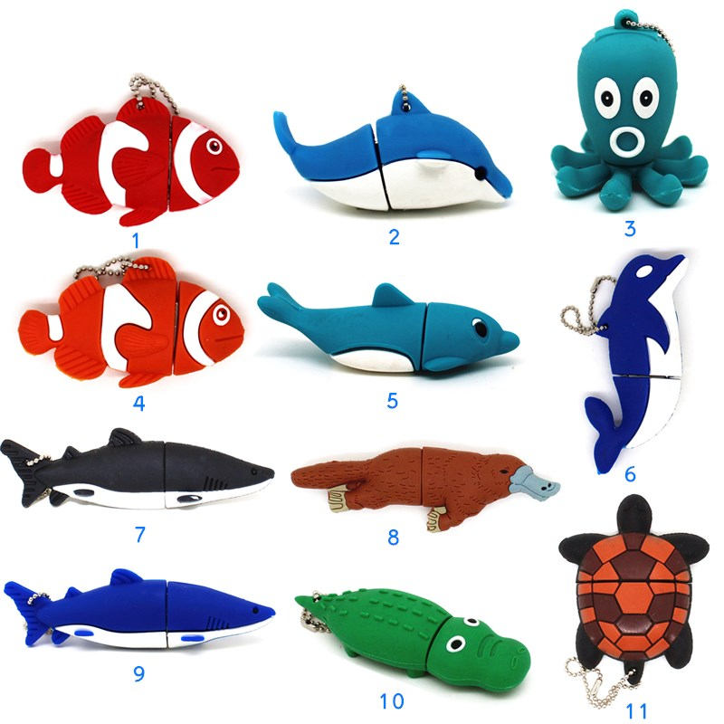 Cute Animal Pen Drive Dolphin/fish/shark/turtle USB Flash Drive  Pendrive 4GB 8GB 16GB 32GB 64GB Cartoon Memory Stick Octopus