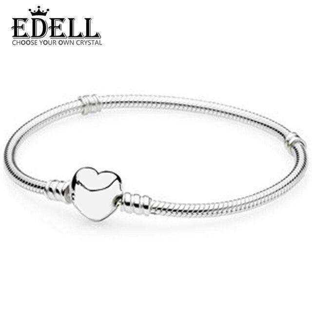 d7387acbc207 EDELL genuino 100% plata esterlina 925 amor corazón pulsera de las mujeres  DIY tobillera Charms