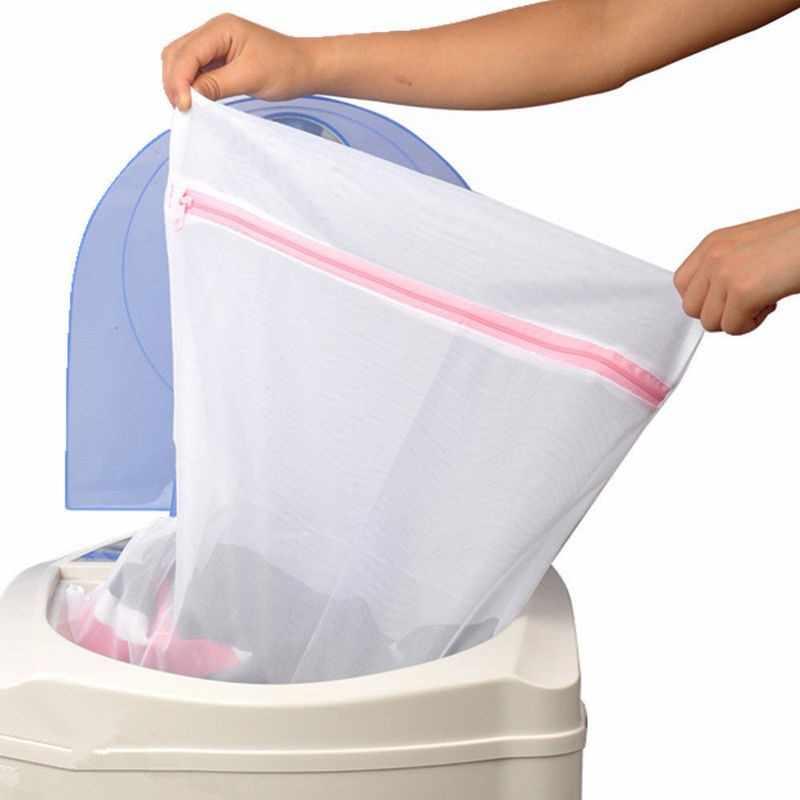 3 Tamanho Lavagem De Roupa Sacos de Malha Com Zíper Dobrável Delicados Lingerie Meias Sutiã Cueca Máquina de Lavar Roupas de Proteção Net S