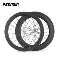Del CCSME entrega rápida ciclismo carreras de ruedas de carbono 60 Frontal trasera 88mm Tubular/remachador llanta Pillar Habló + aleación pezón Wheelset Del Camino Del Carbón