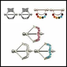 2 Piece Steel Arrow Design Nipple Rings For Girls