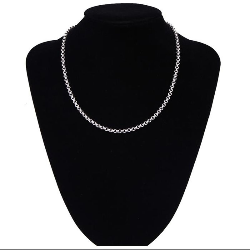USENSET 3 0mm 304 Stainless Steel Cross Link Chain Necklace Women Jewelry Silver Chain Daily Wear Necklace Girls in Chain Necklaces from Jewelry Accessories
