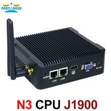 Mini PC 2 порта LAN Intel Quad Core J1900 Процессор 2.0 ГГц Безвентиляторный Компьютер для Windows 7 8 10