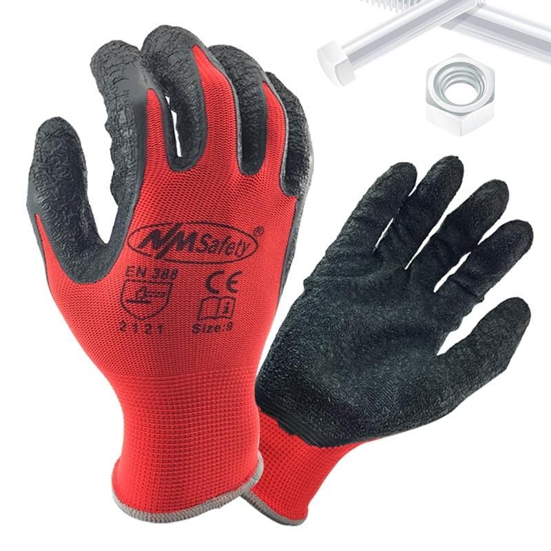 NMSafety Better Grip Ultra-Thin Knit Latex Dip Nylon Red Latex Coated Work Gloves luvas de couro good year ultra grip 8 купить украина