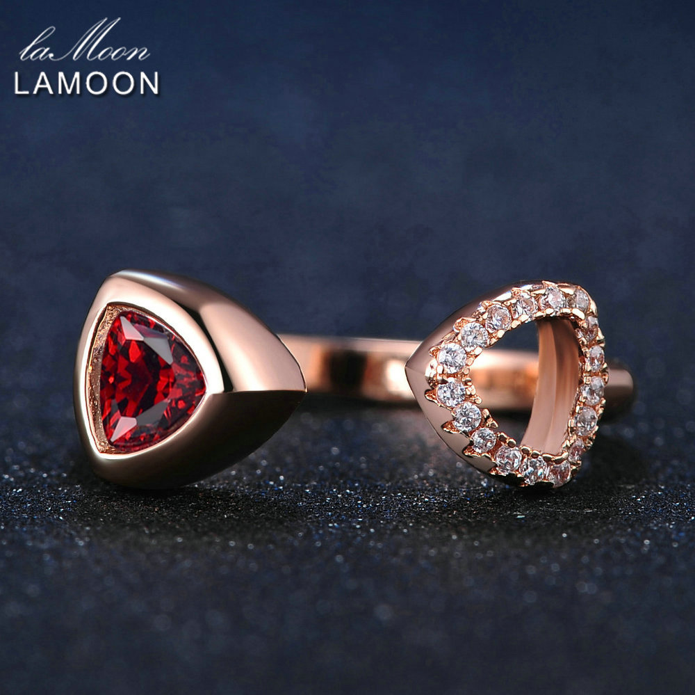 LAMOON Unique Hollow 6mm Triangle Natural Garnet S925 Ring 925 Sterling Silver Rose Gold Color Fine Jewelry For Women LMRI018