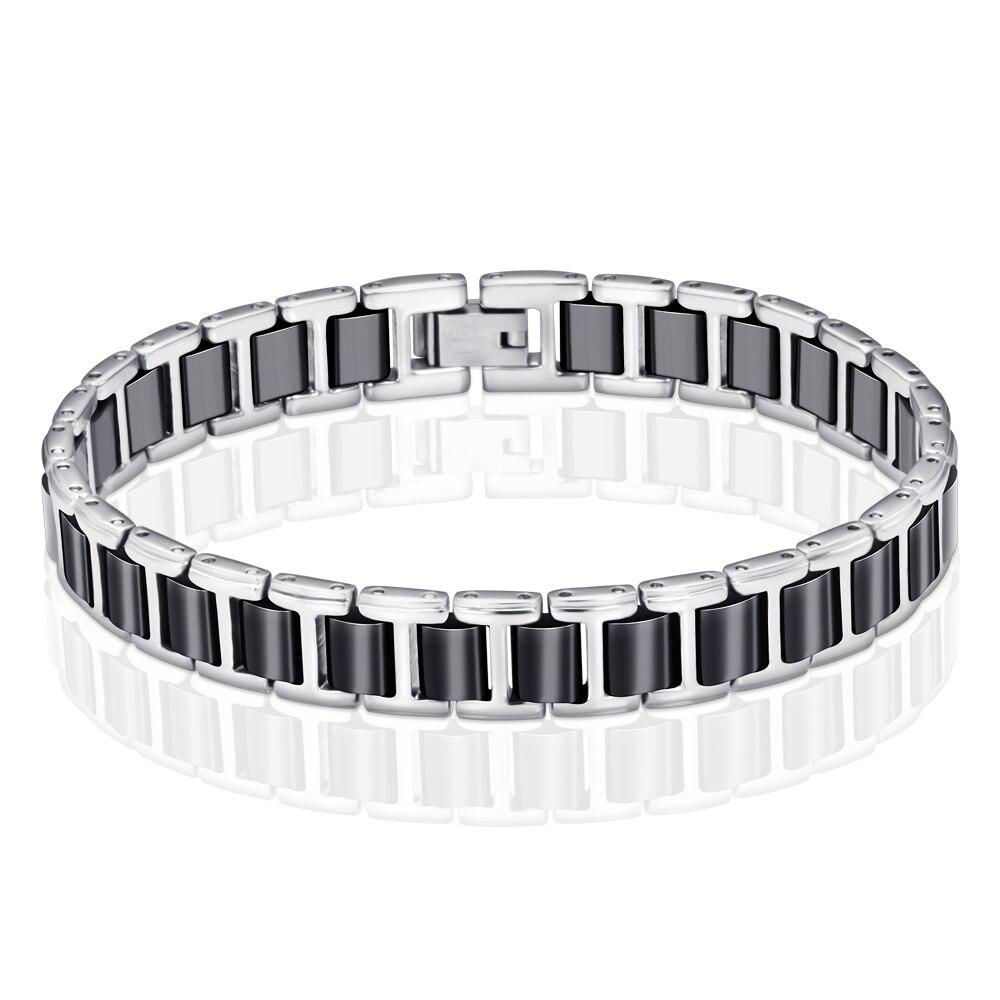 все цены на Trendy Jewelry Ceramic Bracelet Bangle Health Magnetic Power Titanium Bracelets Black With Silver Color Men Bracelet & Bangle