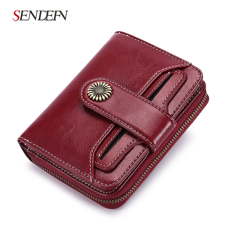 Sendefn 2018 New Wallet Female Small Women Wallet Short Wallet Quality Coin Purse Women Button Purse Quality Flower Hardware ...