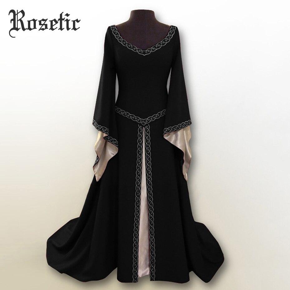 Rosetic готическое длинное вечерние платье с v-образным вырезом, с длинными рукавами, средневековая одежда, платье для женщин, Vestidos, платье на Хэ...