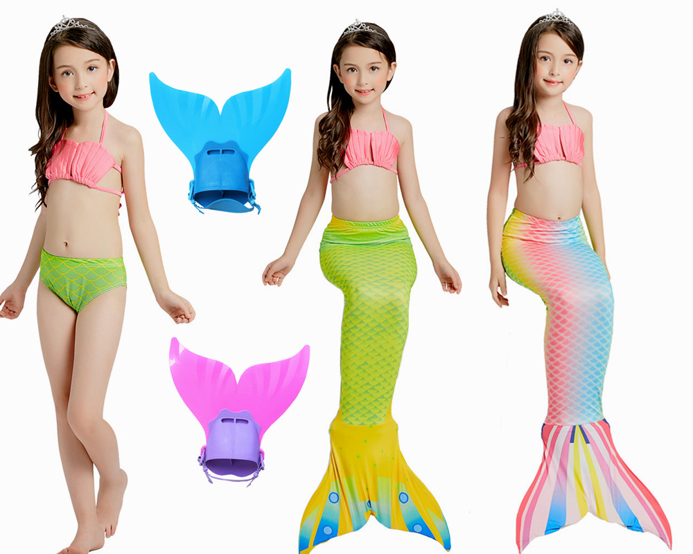 Kids Swimming Mermaid Tail with Monofin Swimsuit Cosplay Clothing Girls Children Swimmable Mermaid Tails for Swimming costume