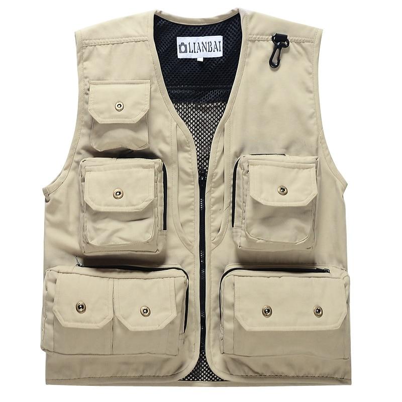 Good Quality Men's Photographer Canvas Vest Multi Pockets ...