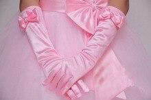 10 шт./лот, детские длинные перчатки с цветочным рисунком для девочек, для школьников, танцев, выступлений, 3 размера, белый, розовый цвет, бесплатная доставка