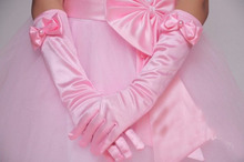 Flor meninas crianças criança kid student partido desempenho dança luvas longas 3 tamanhos branco rosa frete grátis por atacado