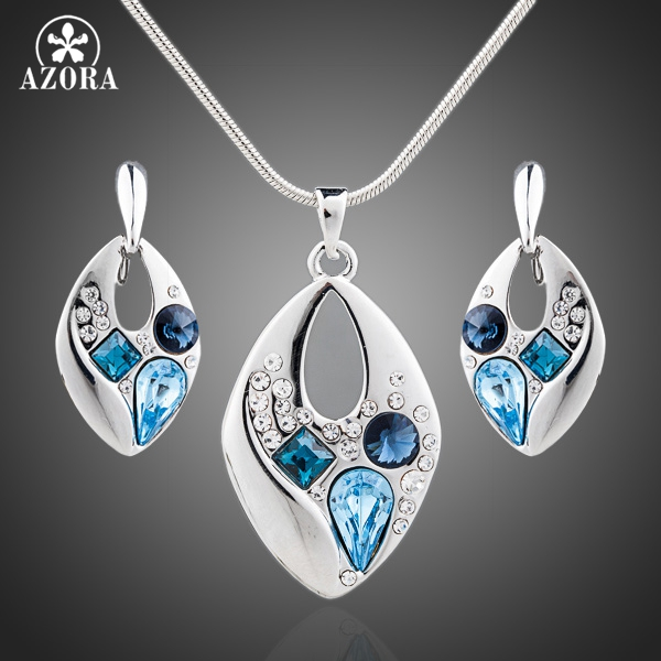 AZORA White Gold Color Blue Stellux Austrian Crystal Clip Earrings and Necklace Jewelry Sets TG0042 azora sparking sea blue top stellux austrian crystal octopus animal pin brooch tp0051