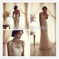 Vestido De Noiva Lace Wedding Dresses 2017 Scoop Sleeveless Backless Sweep Train Applique Sashes Sheath Bridal Gown Dress