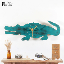 Personalized Imitation wood crocodile retro style wall clock Mediterranean decorative wall Watch for living room