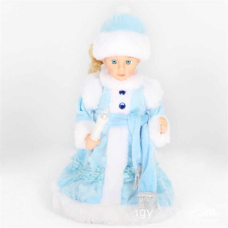 Versão russa neve maiden papai noel boneca falando brinquedos elétrica musical natal boneca decorações presentes de natal para crianças
