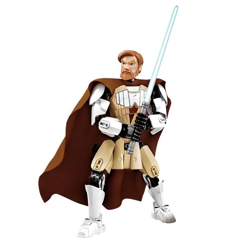 Звездные войны сборная фигура строительный блок Штурмовик Дарт Вейдер Kylo Ren Chewbacca Boba Jango Фетт фигурка игрушка для детей - Цвет: Obi Wan