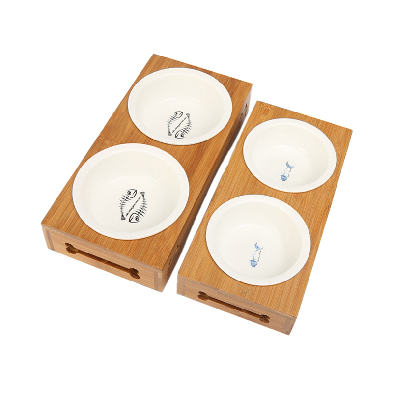 4 Types Pet Double Dog Bowl Bamboo Stainless Steel Ceramic Cat Bowl Dog Food Bowl Feeding Feeder Water Bowl For Dogs Pet Shop