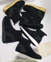 Новая мода носок носочки башмачки стрейч ткани кожа обувь Для женщин слипоны трикотажные тренер Дамская обувь на платформе повседневная об