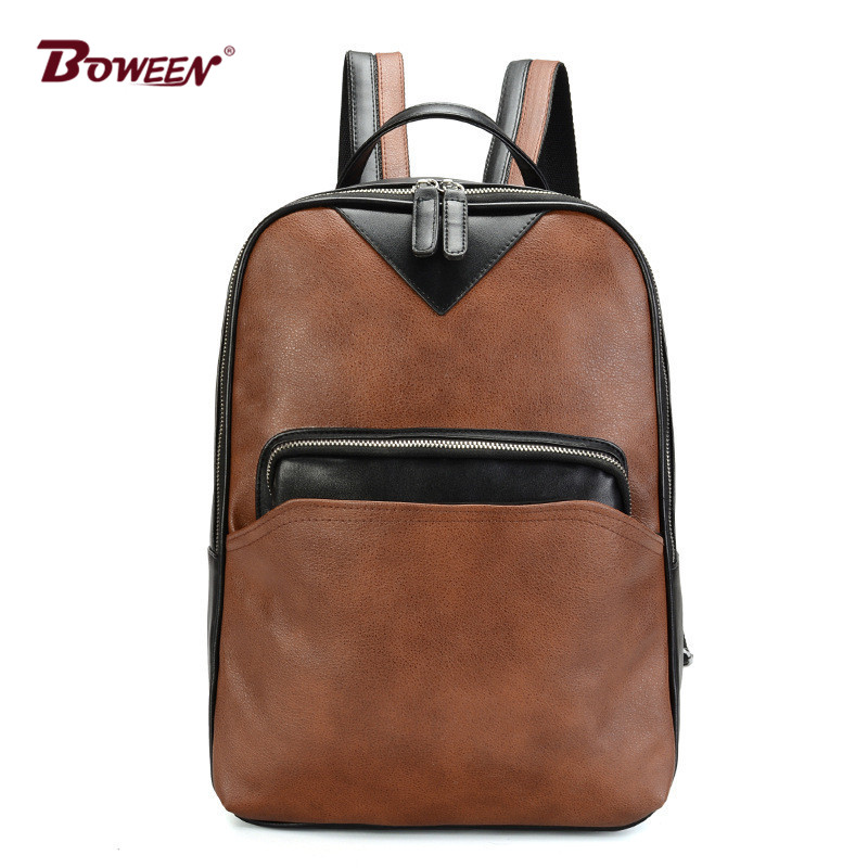 Fashion Pu Leather Male Backpack Schoolbag Teenagers Boy High School Student College Wind Casual Travel Back Bag Black Brown men original leather fashion travel university college school book bag designer male backpack daypack student laptop bag 9950