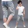 2017 новый летний стиль модного бренда брюки для мальчиков печати детей брюки джинсы детская одежда пять минут штаны детей