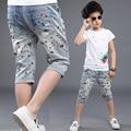2017 nuevo estilo de verano marca de moda de los bebés de los pantalones de impresión niños pantalones de mezclilla ropa de los niños de cinco minutos pantalones niños