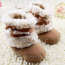 Princess Baby Girls Bowknot Snow Warm Boots Soft Crib Shoes Newborn Infant Toddler Fleece Boots