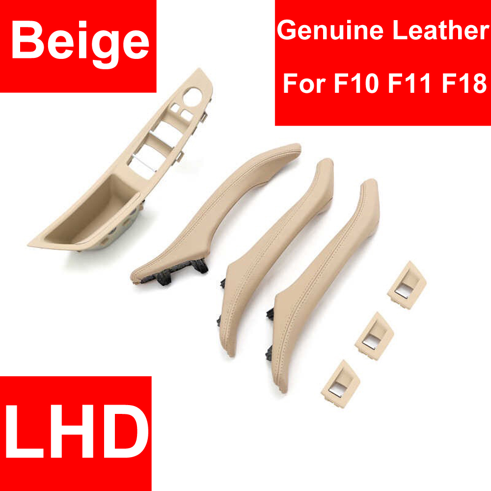 Genuine Leather Left Hand Drive LHD For BMW 5 series F10 F11 F18 Beige Car Interior Door Handle Inner Panel Pull Trim Cover Arm