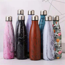 Marble Texture Water Bottle Eco-friendly Wooden Printed Thermos Cup Vacuum Flask Insulated Drink