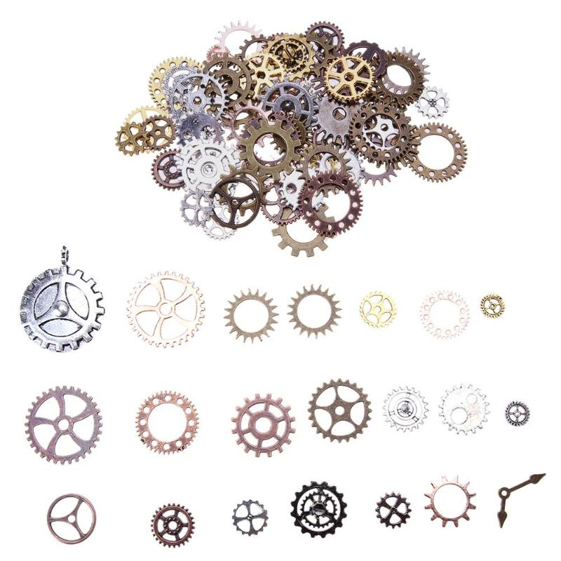 100pcs/set Antique Vintage Gears Pendant Charms Metal Mixed Steampunk Cog Wheel Charms for DIY Jewelry Necklace Accessories