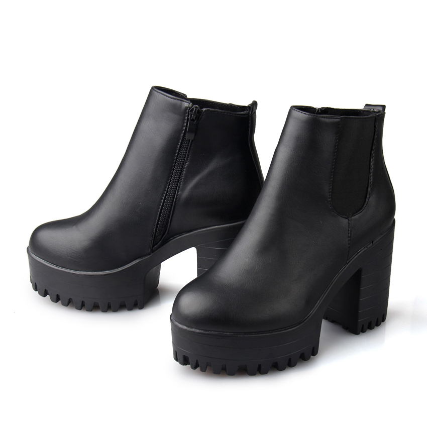 Fashion Women Boots Square Heel Platforms Leather Thigh High Pump Boots Motorcycle Shoes Hot Sale