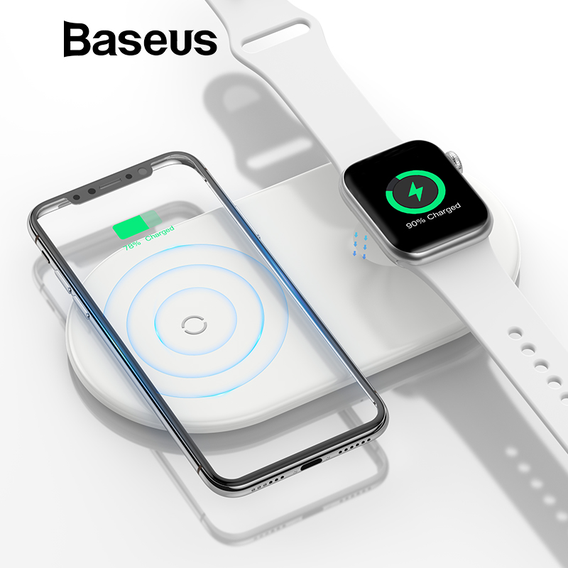 Baseus 2 en 1 cargador inalámbrico para iPhone X XS X Max XR Apple Watch 3 2 almohadilla de carga inalámbrica (no apoyo para reloj de Apple 4)