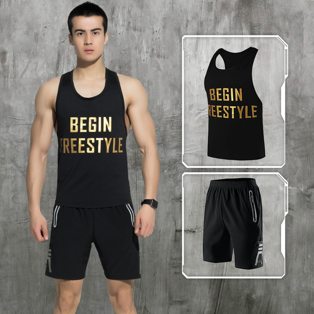 LEFAN Summer Men Sports Suits Quick-dry Running Gym Sets Male Basketball Training Fitness Clothes Tracksuits Vest + Shorts M-3XL