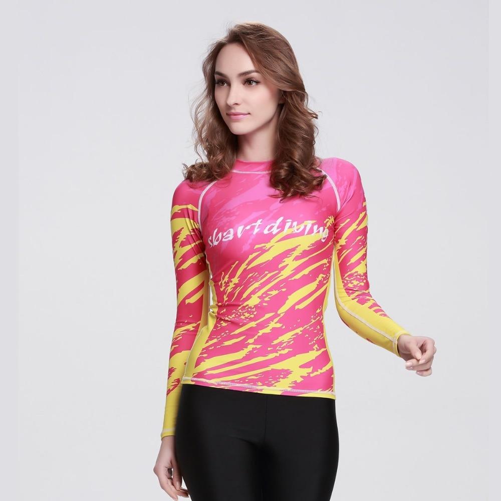 Frauen Langarm Rash Guard Rosa/gelb Digitale Gedruckt Design Upf 50 + Rashguard Uv Sonnenschutz Schwimmen Top