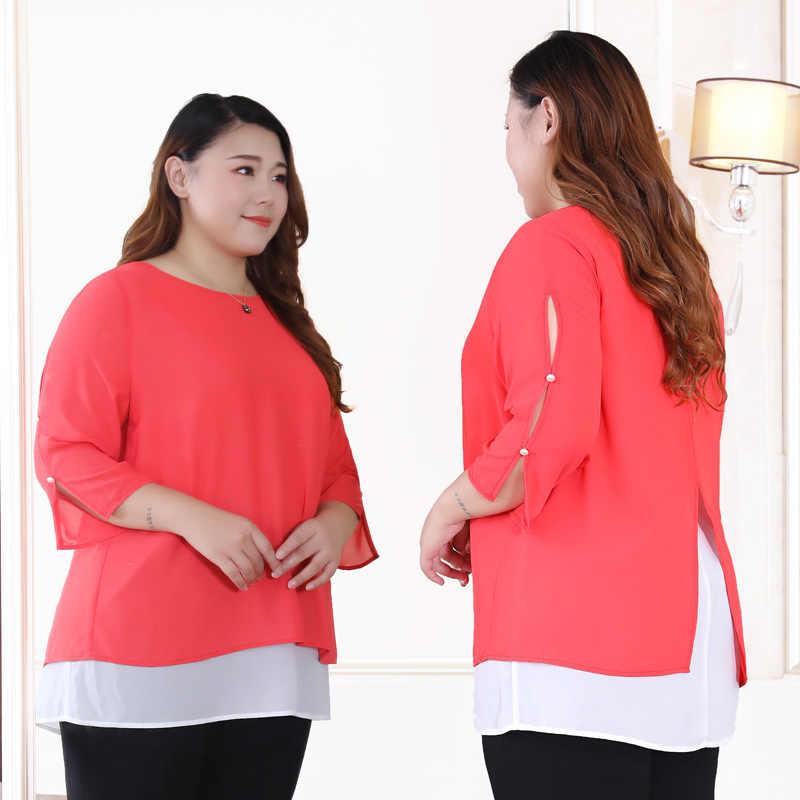 2019 весна лето офисные женские блузки плюс размер 10xl 9xl 8xl рубашка женские топы блузка Удобные Свободные блузки элегантная рубашка MS
