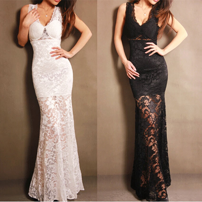 Fashion Bodycon Long Lace Party Dresses Womens V-neck Prom Evening Party Bridesmaid Wedd ...