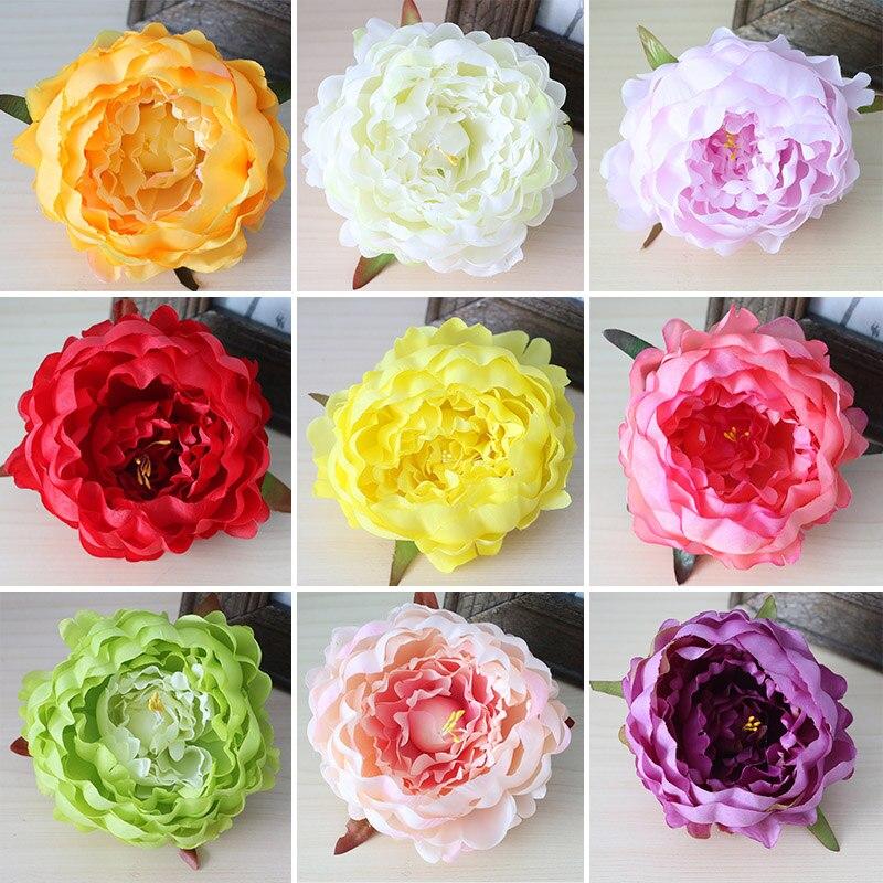 unids hydrangea flores cabezas cabezas de flores de peona flores de seda decoracin