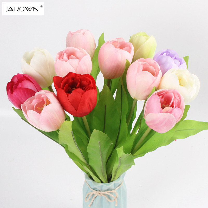 JAROWN Artificial Tulip Flower Silk Flowers Fake Colorful Simulation Flower For Wedding Home Party Decoration Accessory
