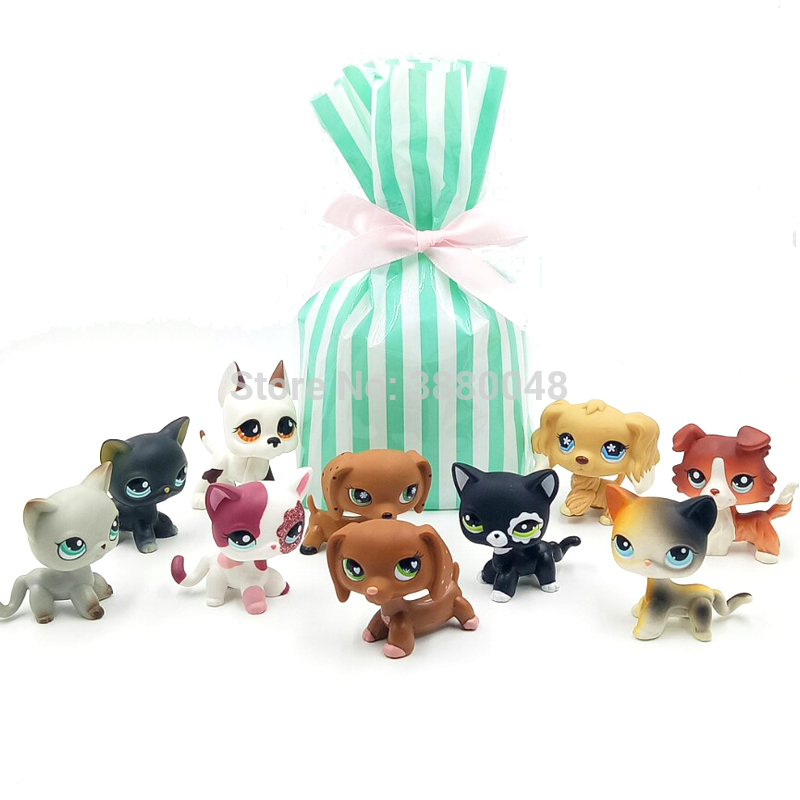 10 pièces/sac véritable animalerie lps jouets littlest cheveux courts chat rare teckel collie spaniel grand danois vieux vraie figure avec sac cadeau