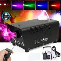Disco Light LED 500W Remote Control Fog Smoke Machine Christmas DJ Party Stage Light RGB Smoke Projector Christmas Decoration