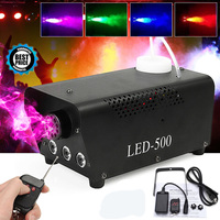 Disco Light LED 500W Remote Control Fog Smoke Machine Christmas DJ Party Stage Light RGB Smoke Projector Christmas Decoration