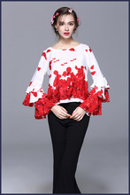 France style sweet flare sleeve silk blouse 2017 spring O-neck petal print shirts S-XL size