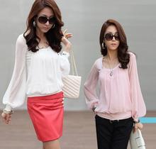 Spring Autumn Office Work OL Chiffon Blouses Women Long Lantern Sleeve Round Collar Shirts White Pink Tops