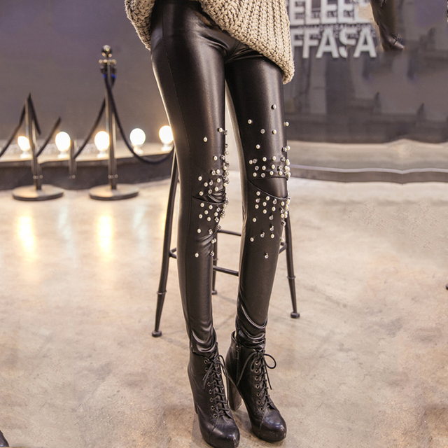 Imitation Leather Leggings Sexy Slim Patchwork Rivets Temperament Leather PU Fashion Pants for Women's Warm Velvet Leggings