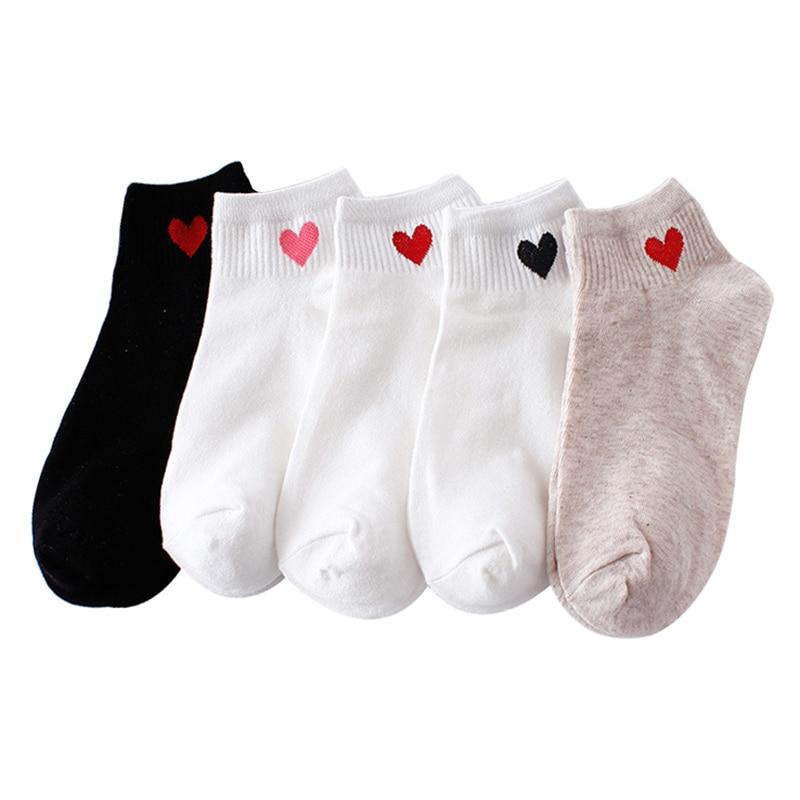 10pcs=5pairs Women Short Socks Red Heart Cute College Fresh Female Socks Soft Cotton Summer Autumn Hot Sale Girls Sock Meias Sox(China)