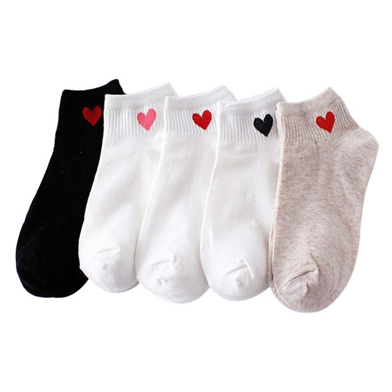 10pcs=5pairs Women Short Socks Red Heart Cute College Fresh Female Socks Soft Cotton Summer Autumn Hot Sale Girls Sock Meias Sox