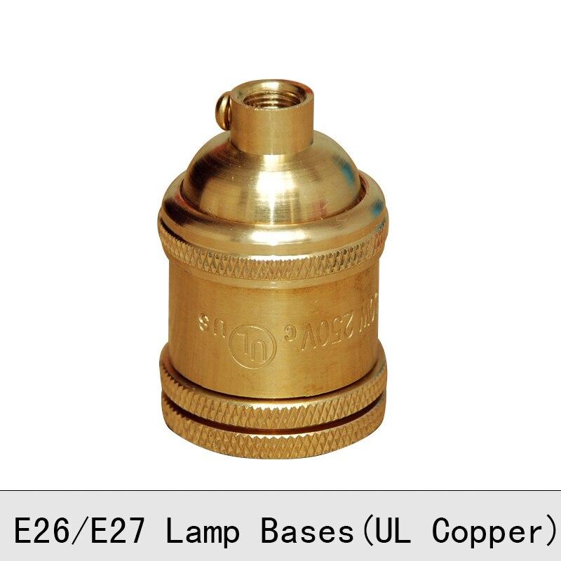 Vintage Edison žárovka držák měděné mosazi šroubová lampa patice E26 E27 250V UL nejvyšší kvality přívěsek světla základny 2PCS / Lot